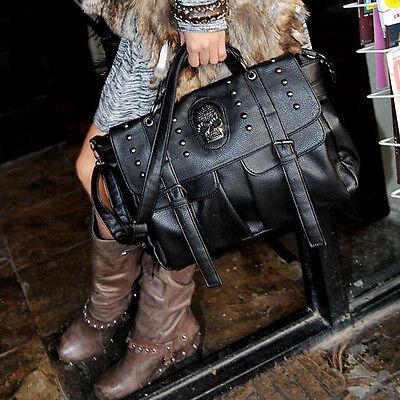 Womens Handbag Satchel Shoulder Crossbody Messenger Bag Skull Rivet Fashion NEW