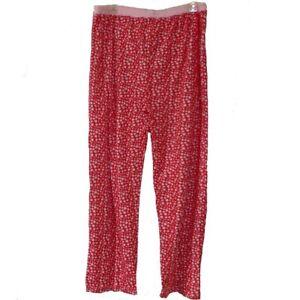 Lounge-Sleep-Pants-Women-2X-3X-Hearts-Red-Pink-Drawstring-Waist