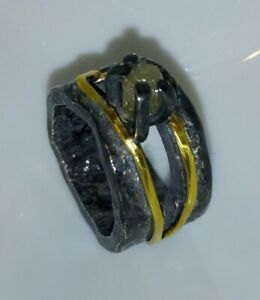 Ring-mit-Rohdiamant-Silber-925-geschwaerzt-Gold-750-Flamere-Design