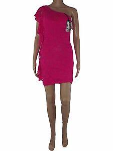 new product e758b f79a7 Dettagli su donna abito vestito fucsia pizzo mono spalla stretch taglia s  small m medium