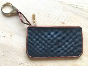 Bottega-Veneta-Vintage-Black-Leather-Coin-Purse-Brown-Trim-with-Zipper-Clasp