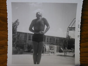 Vintage-B-amp-W-Photograph-Shirtless-Man-Muscles-Bulge-Poolside-Swimsuit-1960