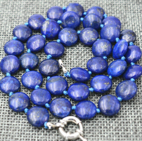 10 Mm Coin Naturel Lapis Lazuli Gemme Bijoux Collier 20 in environ 50.80 cm