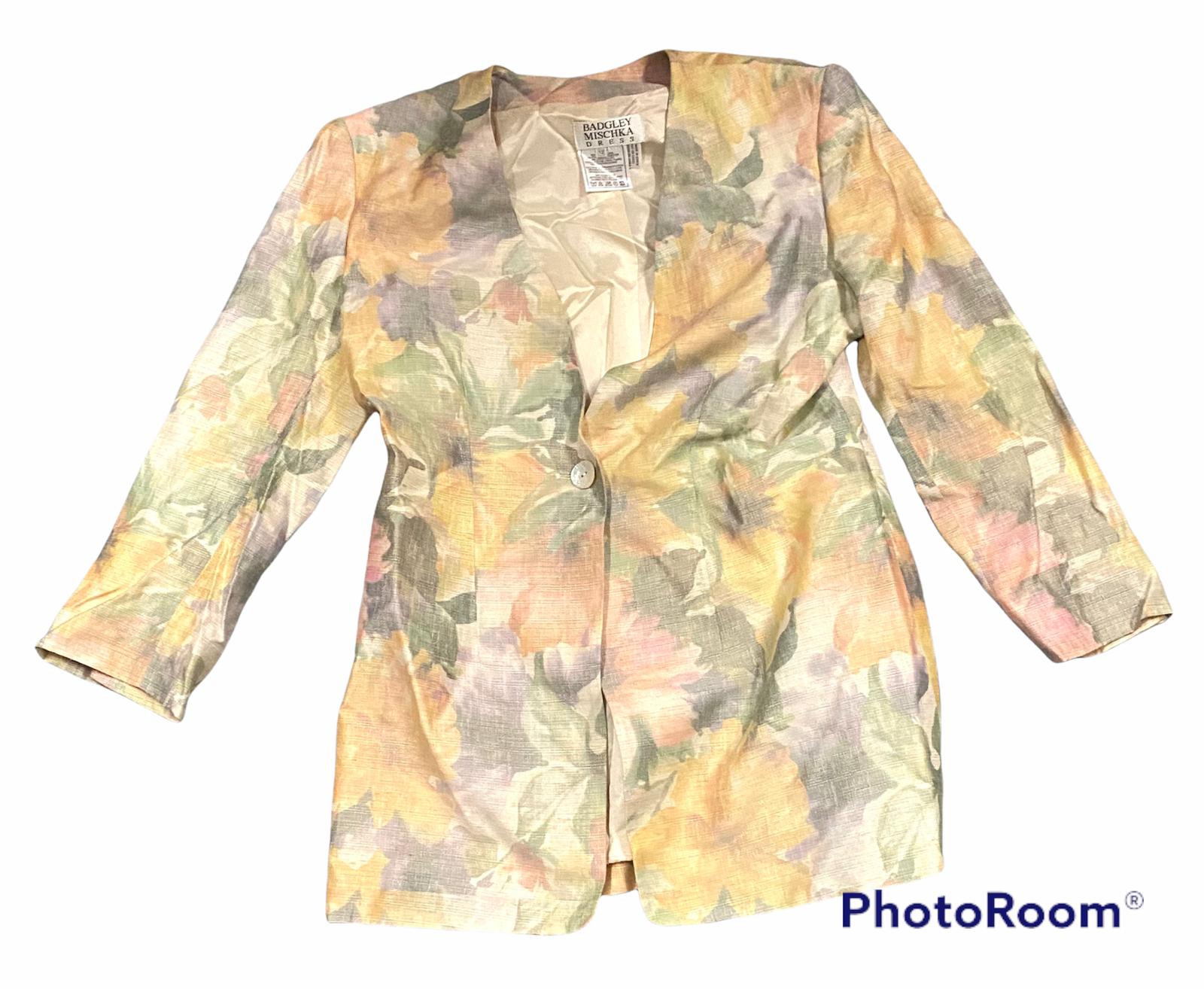 BADGLEY MISCHKA Floral Jacket Blazer Long Sleeve Woman's Multi-Color Size 12