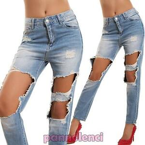 Donna Slim Boyfriend Chiari Sigaretta Jeans Pantaloni Strappi Sexy Ok8nPX0w