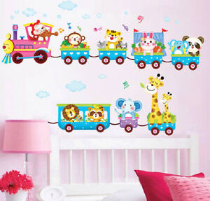 Animal-Train-Wall-Decal-Stickers-Vinyl-Art-Kids-Baby-Nursery-Room-Cartoon-Decor