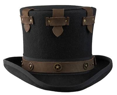 NEW Conner Hats STEAMPUNK Australian Wool Secret Compartment Top Hat C1070