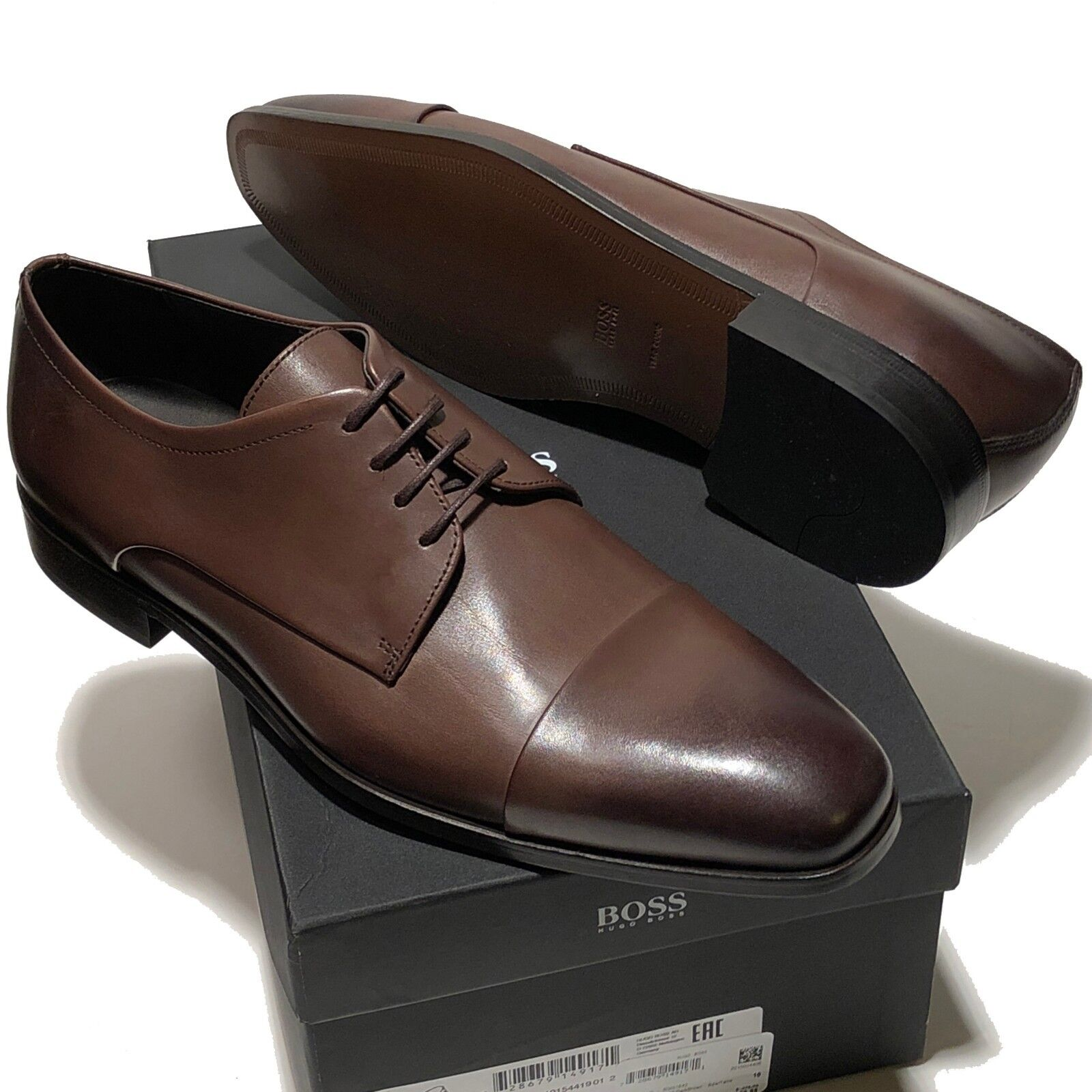 SPECIAL  HUGO BOSS Dark Brown Leather COLOSONS Captoe Men's Oxford Dress Casual