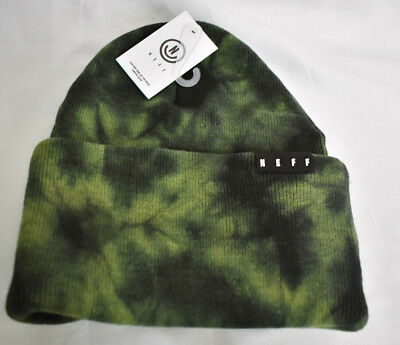 cc40ed452 Unisex Mens Neff Lawrence Washed Olive Cuffed Beanie New With Tags NWT |  eBay
