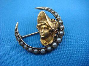 !AMAZING ANTIQUE VICTORIAN SMALL 14K YELLOW GOLD BROOCH WITH PEARLS 2.3 GRAMS