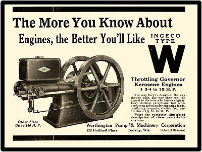 Water Governed Kerosene Engines Kansas City MO New Metal Sign Weber Engine Co