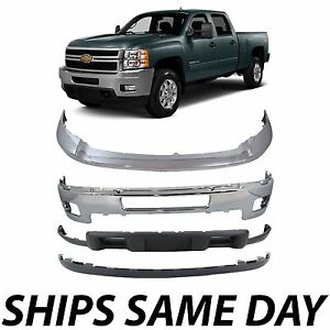NEW Chrome Steel Front Bumper Kit - For 2011-2014 Chevy Silverado 2500HD 3500HD