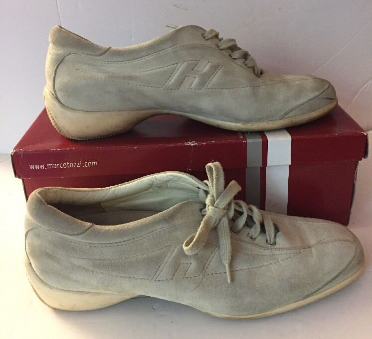 HOGAN Ladies Trainers Cream shoes Woman 38 UK 5 Suede Leather  Sneakers