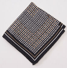 New $135 ERMENEGILDO ZEGNA Black Houndstooth Check Wool and Silk Pocket Square