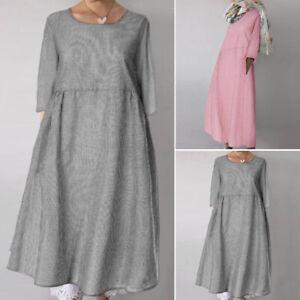 ZANZEA-UK-Womens-Striped-3-4-Sleeve-Tunic-Shirt-Dress-Casual-Loose-Midi-Dresses