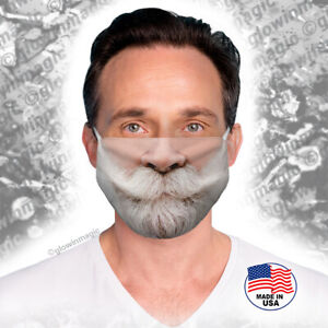 Santa-Claus-Beard-amp-Mustache-Christmas-face-mouth-mask-Reusable-Soft-Free-Shipng