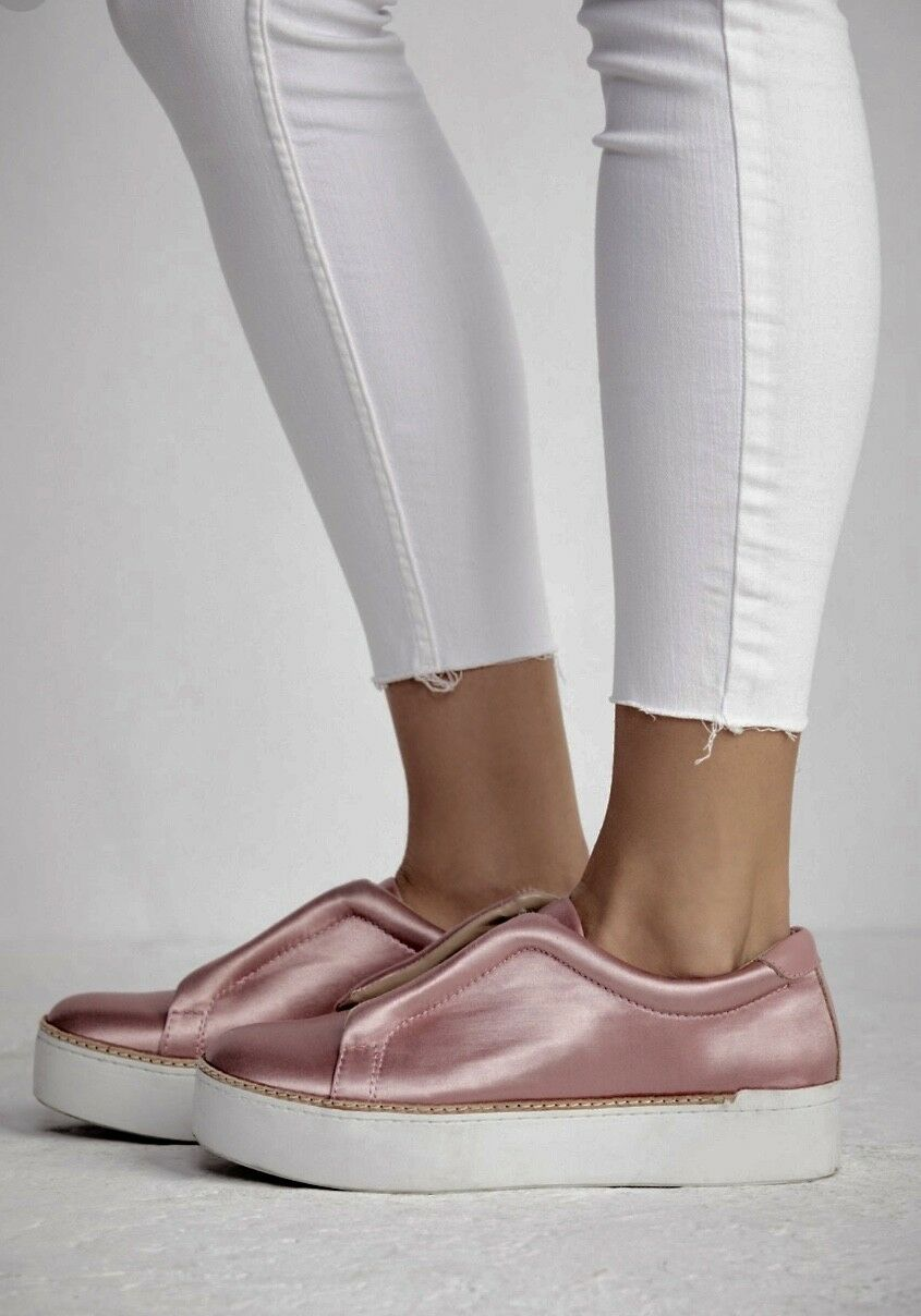 NIB Free People X  M4D3 pink Satin Slip On Sneakers Thick White Rubber Sole 7.5