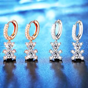 Dames Adorable Ours Labo Diamant 18K or Blanc /& or rose rempli Huggi Boucles d/'oreilles