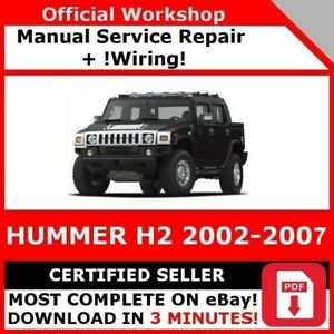 Factory Workshop Service Repair Manual Hummer H2 2002 2007 Wiring Ebay