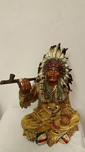 Native American Indian Chief Smoking Peace Pipe Statue ...