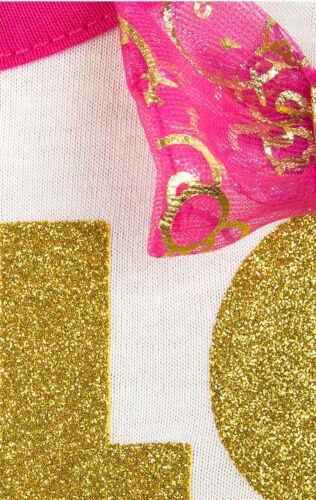 Mädchen Ex-Chainstore Hello Kitty Glitzer Aufdruck Schleife Kleid 4-15 Jahre
