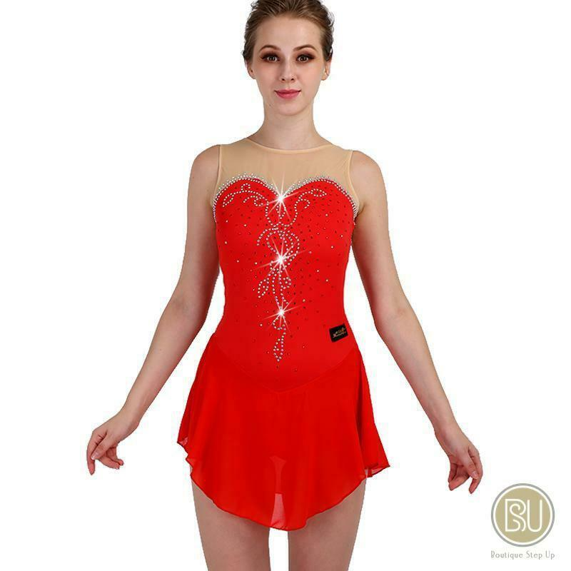Competition Skating Dress Sleeveless Sweet Neckline Strapless Crystals