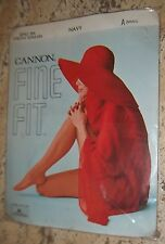 VINTAGE CANNON STRETCH SEAMLESS 100% NYLON Navy GARTER STOCKINGS w/Cover Model
