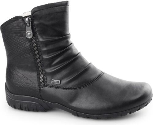 Rieker Z4663-01 TEX Ladies Womens Water Resistant Warm Lined Zip Up Winter Boots