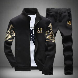 New-2Pcs-Set-Men-Jacket-Pants-Tracksuit-Sport-Jogging-Athletic-Sportswear-Casual