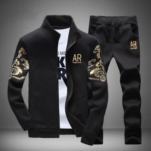 2Pcs Men Fall Jacket+Pants Tracksuit Sport Jogging Athletic Sportswear Casual US