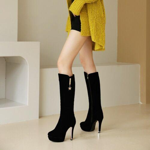 Details about  /44//48 Women/'s Wedding Rhinestone Round Toe Platform High Heel Mid-calf Boots L