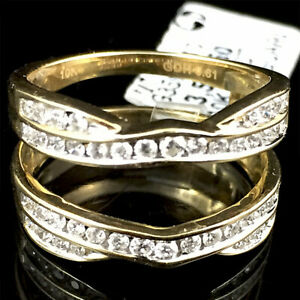 10k-Yellow-Gold-Genuine-61ct-Diamond-Solitaire-Ring-Guard-Wrap-Enhancer-Jacket