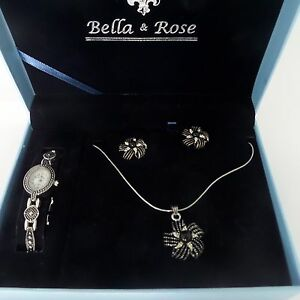 Image Is Loading Bella Amp Rose Jewelry Box Set Watch Necklace