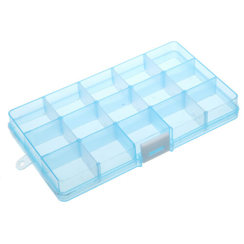 Plastic 6//10//15//28//36 Slots Adjustable Storage Box Jewelry Pills Craft Organizer