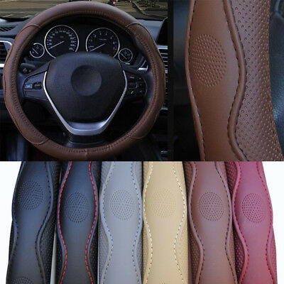 All Seasons Car Steering Wheel Cover Top PU Leather 37-38CM Brown Fashion Sport