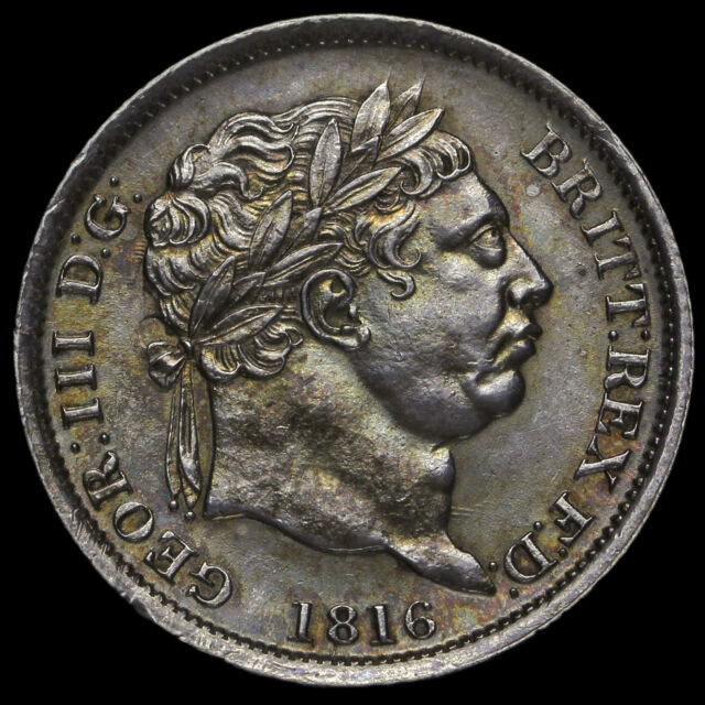 1816 George III Milled Silver Shilling, A/UNC