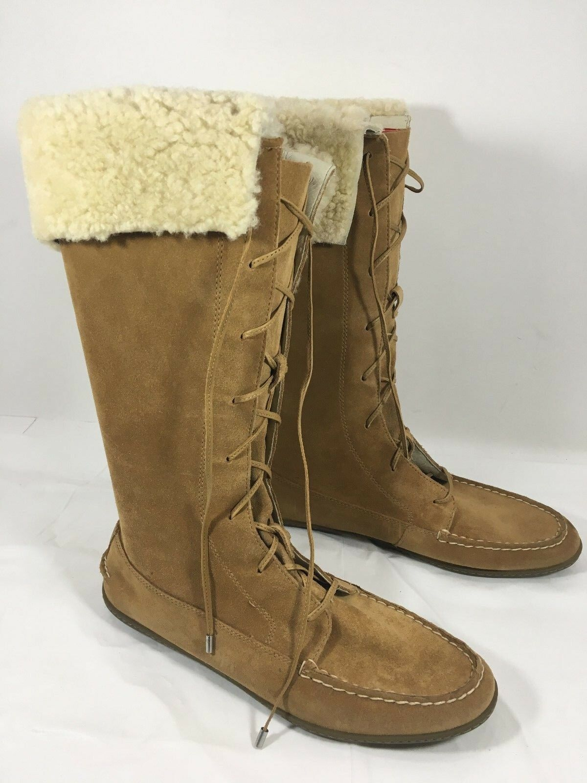 NEU Sperry Top-Sider BayShore Mid Calf Moccasin Lace up Shearling Stiefel 8.5