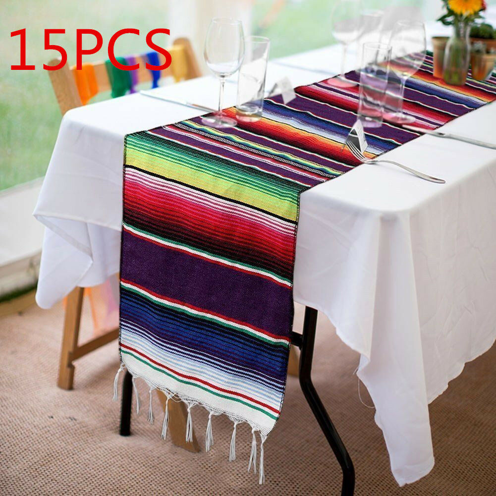 15pcs Nappe Mexicain Poncho Chemins De Table Festival Party Décor Frange coton