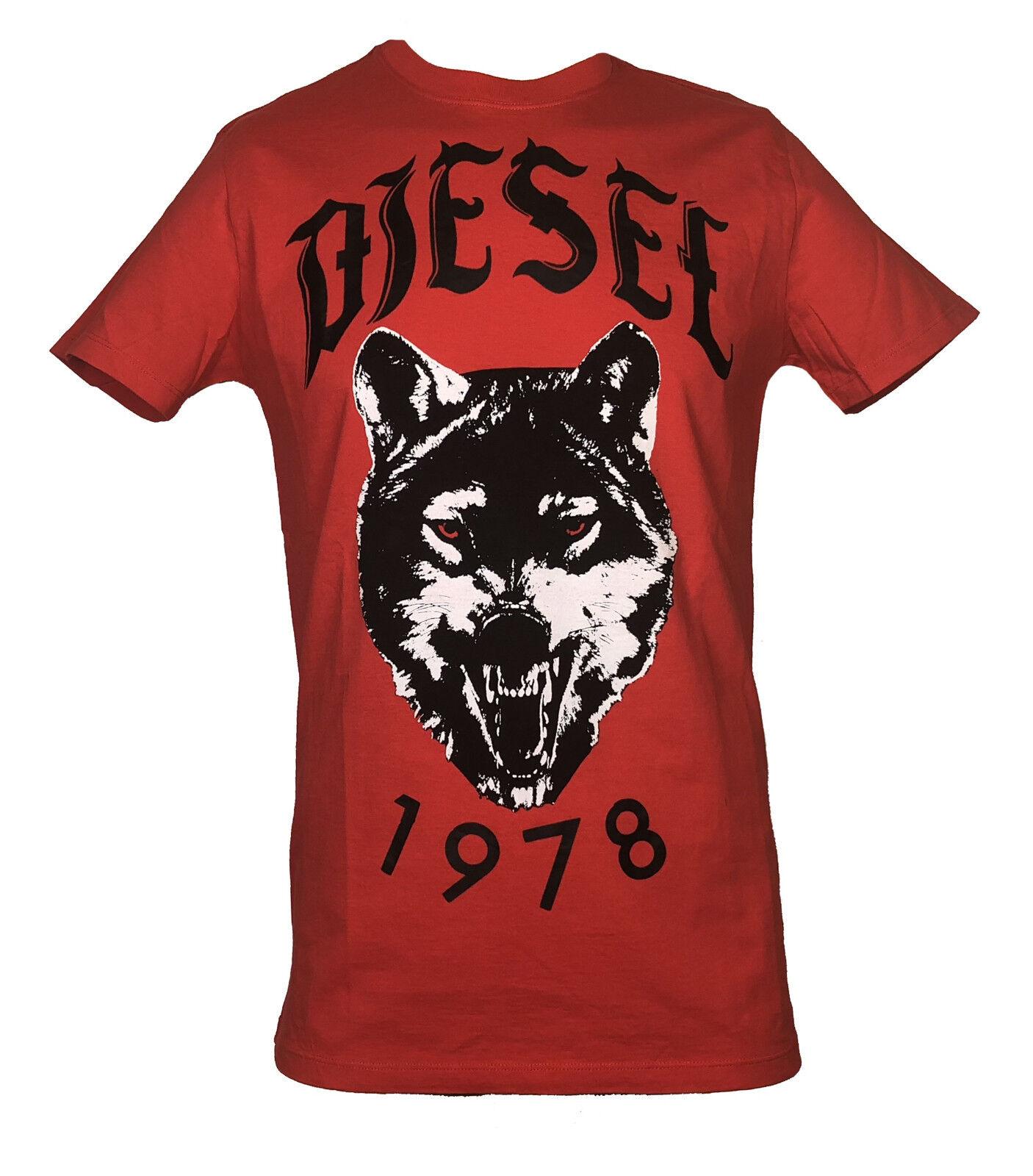 DIESEL Herren T-Shirt     T-ROFF  rot mit Motiv schwarz Gr. M  NEU       Wunderbar  6344f3