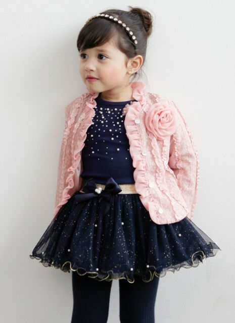 3pcs Girl Baby Kids Children Top Coat+T-shirt+Skirt Tutu Clothing Outfit Set