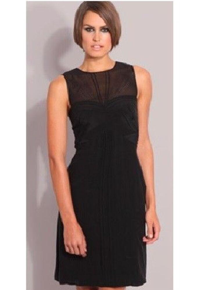 Karen Millen Noir Robe En Soie Taille 16 Rrp £ 150!!! Neuf!!!