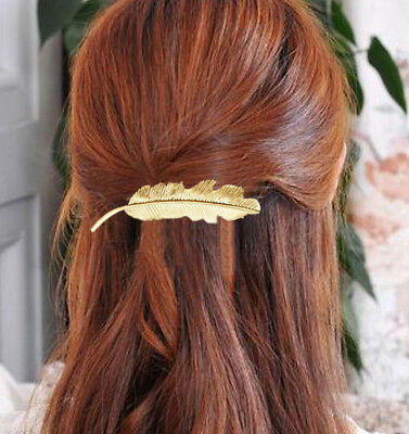 Haarklammer Blatt Feder Gold Silber Metall Haarspange Blattgold Blätter