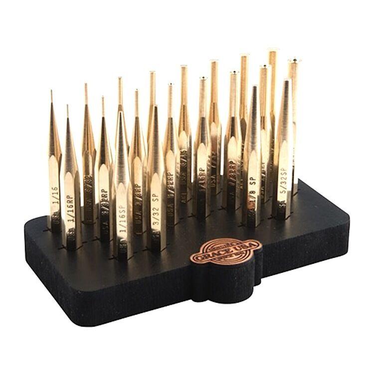 Grace EE. UU. 20 piezas de precisión de BRONCE PUNCH SET con bloque de Bench – hecho en EE. UU.