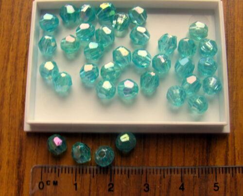200 AB Redondo facetado Plástico Abalorios acrílicos Aqua Blue 5.5 mm 6mm Transparente