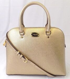 24d685ac8eda Michael Michael Kors Cindy Large Dome Pale Gold Saffiano Leather ...