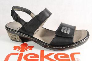 67162 Sandale Neu Sandalen Rieker Echtleder Damen Sandalette Schwarz FwX50X