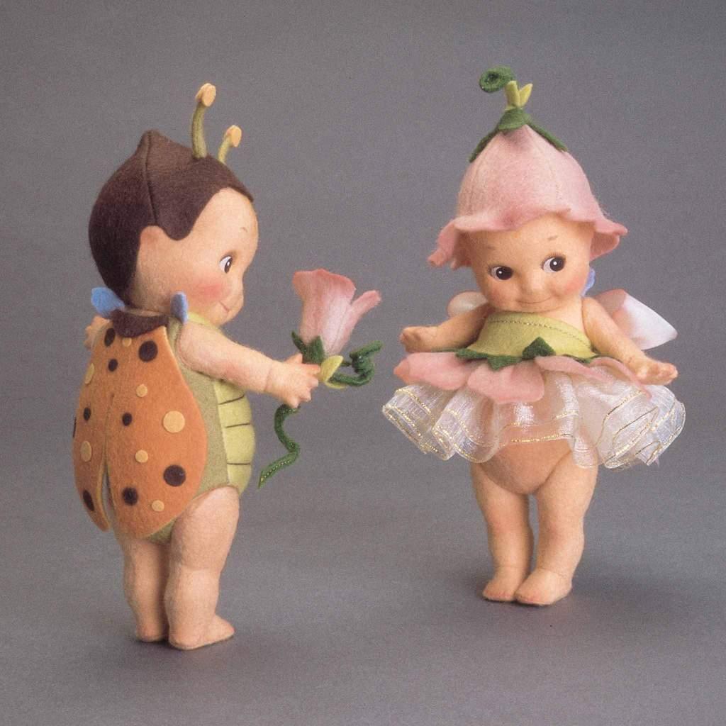 R. John Wright Flit & Fleur Kewpie Set 6  Muñecos de Fieltro UFDC 50th aniversario Exclus