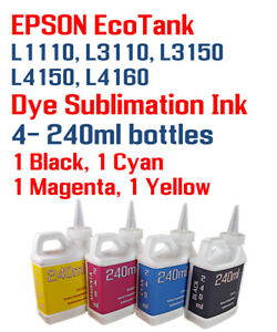 Details about Dye Sublimation Ink 4- 240ml Epson EcoTank L1110 L3110 L3150  L4150 L4160 printer