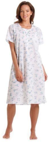 Onorevoli Rosa e Blu Floreale Poly Cotone Camicia da notte da dimensioni 10-32 PLUS SIZE S