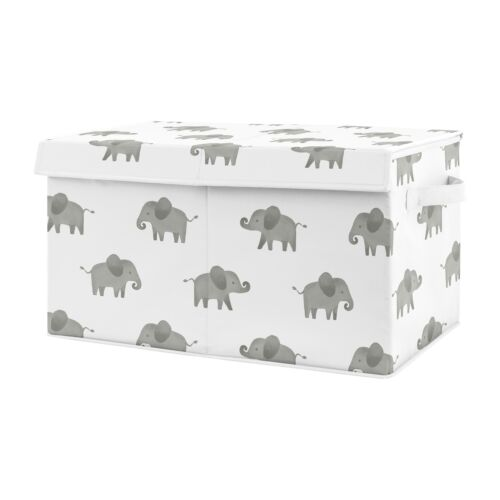 Sweet Jojo Grey Watercolor Elephant Boy Girl Nursery Fabric Toy Bin Storage Box